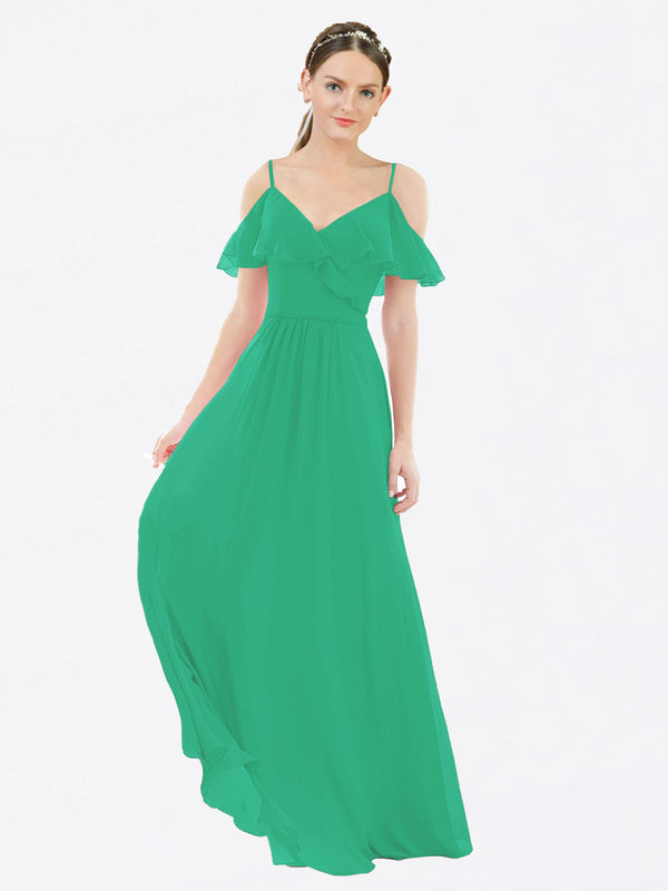 Mila Queen Aubrielle Bridesmaid Dress Emerald Green - A-Line V-Neck Bridesmaid Gown Aubrielle in Emerald Green