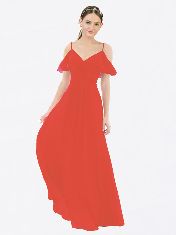 Mila Queen Aubrielle Bridesmaid Dress Firecracker - A-Line V-Neck Bridesmaid Gown Aubrielle in Firecracker