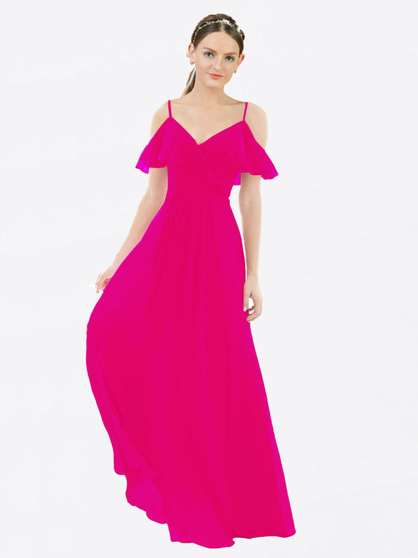 Mila Queen Aubrielle Bridesmaid Dress Fuchsia - A-Line V-Neck Bridesmaid Gown Aubrielle in Fuchsia