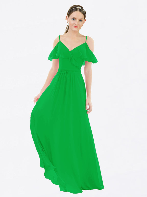 Mila Queen Aubrielle Bridesmaid Dress Green - A-Line V-Neck Bridesmaid Gown Aubrielle in Green