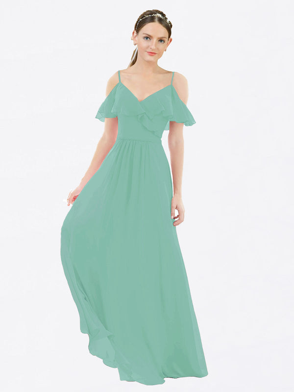 Mila Queen Aubrielle Bridesmaid Dress Jade - A-Line V-Neck Bridesmaid Gown Aubrielle in Jade