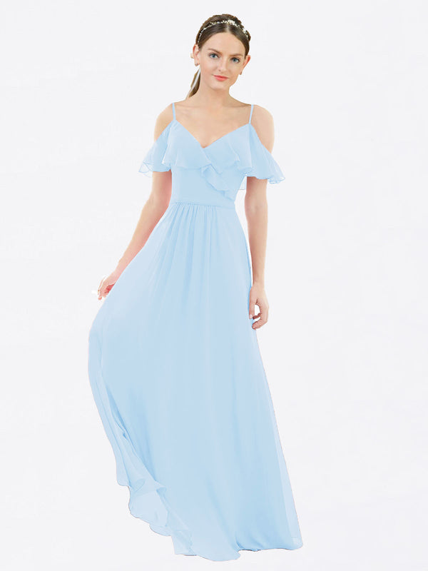 Mila Queen Aubrielle Bridesmaid Dress Light Sky Blue - A-Line V-Neck Bridesmaid Gown Aubrielle in Light Sky Blue