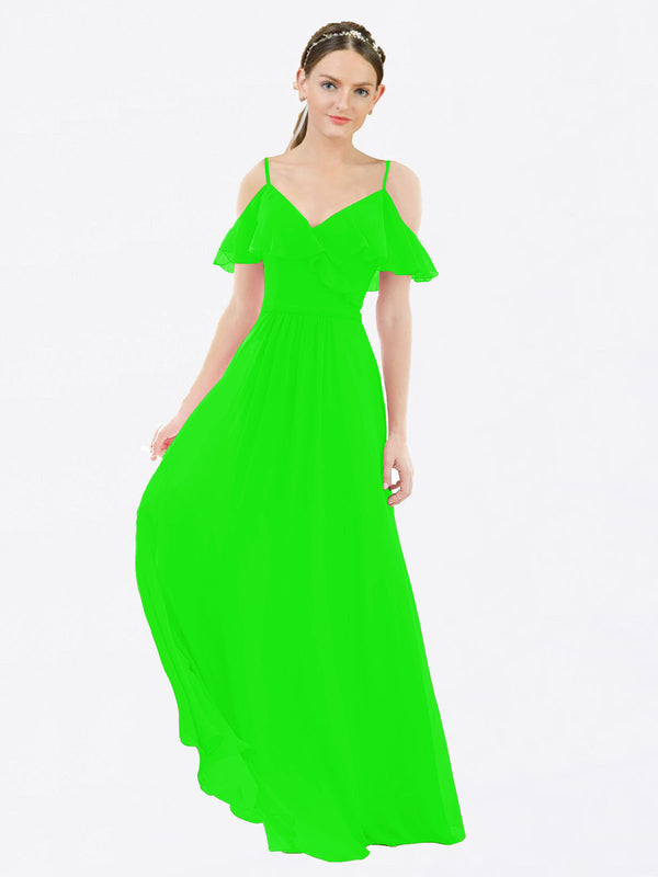Mila Queen Aubrielle Bridesmaid Dress Lime Green - A-Line V-Neck Bridesmaid Gown Aubrielle in Lime Green