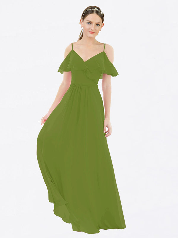 Mila Queen Aubrielle Bridesmaid Dress Olive Green - A-Line V-Neck Bridesmaid Gown Aubrielle in Olive Green