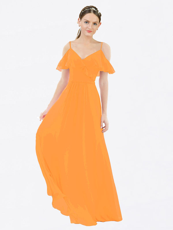 Mila Queen Aubrielle Bridesmaid Dress Orange - A-Line V-Neck Bridesmaid Gown Aubrielle in Orange