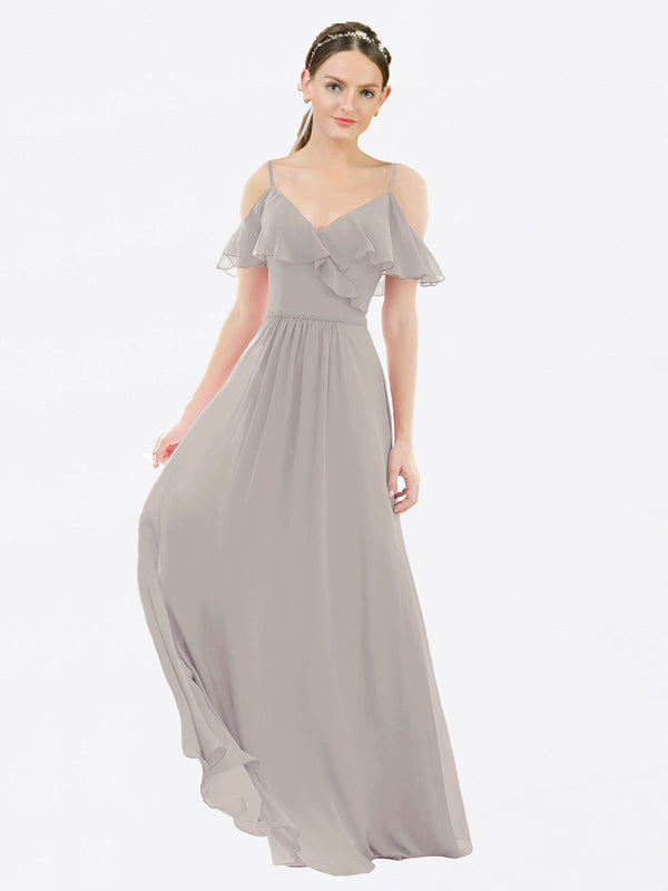 Mila Queen Aubrielle Bridesmaid Dress Oyster Silver - A-Line V-Neck Bridesmaid Gown Aubrielle in Oyster Silver