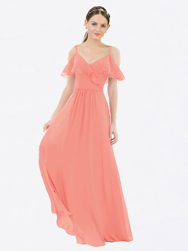 Mila Queen Aubrielle Bridesmaid Dress Peach - A-Line V-Neck Bridesmaid Gown Aubrielle in Peach