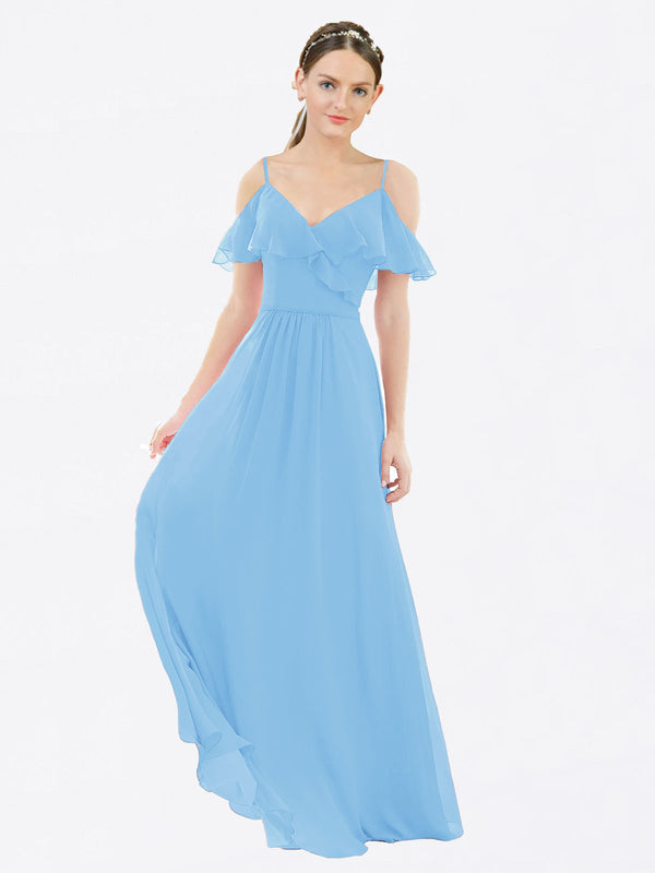 Mila Queen Aubrielle Bridesmaid Dress Periwinkle - A-Line V-Neck Bridesmaid Gown Aubrielle in Periwinkle