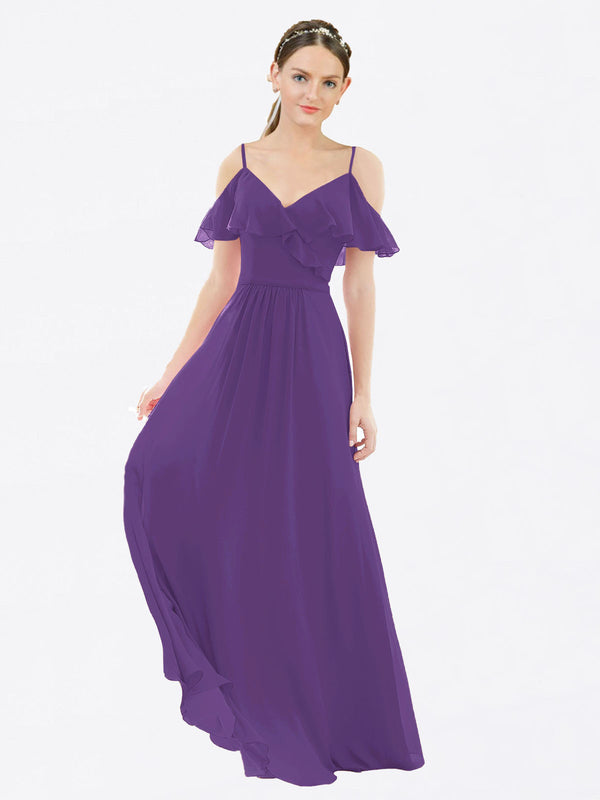Mila Queen Aubrielle Bridesmaid Dress Plum Purple - A-Line V-Neck Bridesmaid Gown Aubrielle in Plum Purple