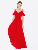 Mila Queen Aubrielle Bridesmaid Dress Red - A-Line V-Neck Bridesmaid Gown Aubrielle in Red