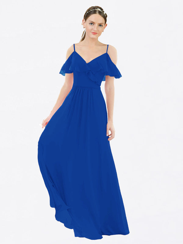 Mila Queen Aubrielle Bridesmaid Dress Royal Blue - A-Line V-Neck Long Bridesmaid Gown Aubrielle in Royal Blue