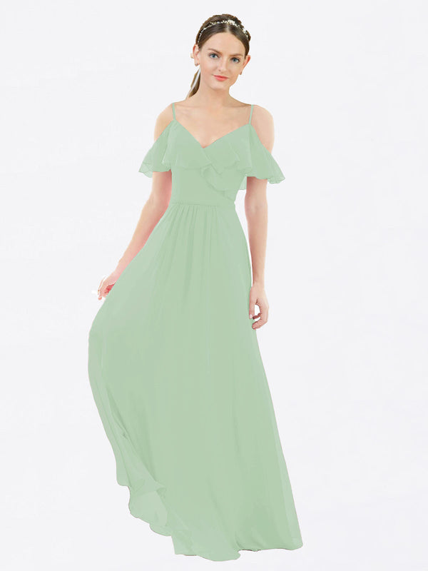 Mila Queen Aubrielle Bridesmaid Dress Sage - A-Line V-Neck Bridesmaid Gown Aubrielle in Sage