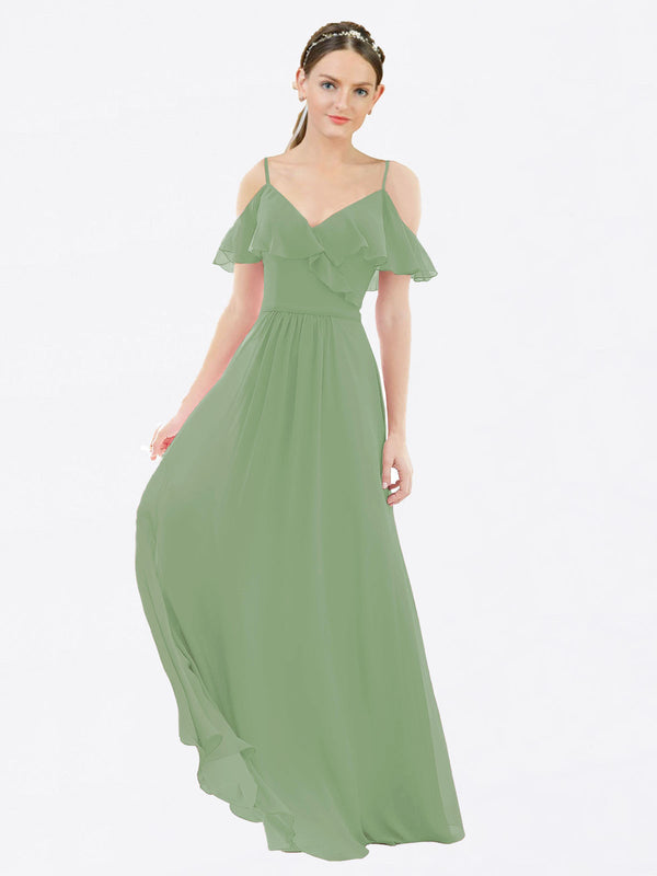 Mila Queen Aubrielle Bridesmaid Dress Seagrass - A-Line V-Neck Bridesmaid Gown Aubrielle in Seagrass