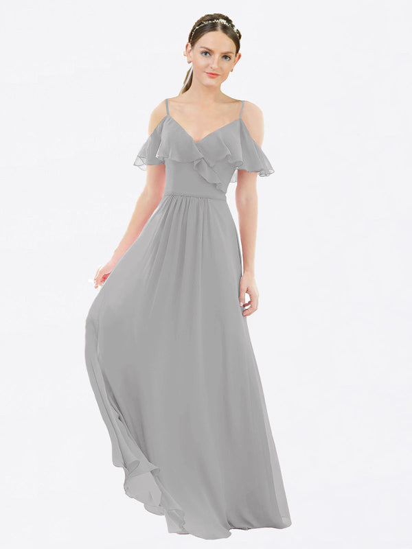 Mila Queen Aubrielle Bridesmaid Dress Silver - A-Line V-Neck Bridesmaid Gown Aubrielle in Silver