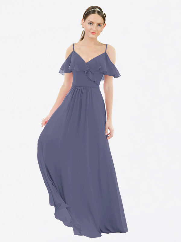 Mila Queen Aubrielle Bridesmaid Dress Silver Stone - A-Line V-Neck Bridesmaid Gown Aubrielle in Silver Stone