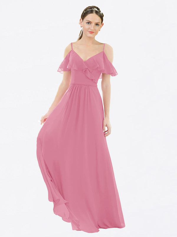 Mila Queen Aubrielle Bridesmaid Dress Skin Pink - A-Line V-Neck Bridesmaid Gown Aubrielle in Skin Pink