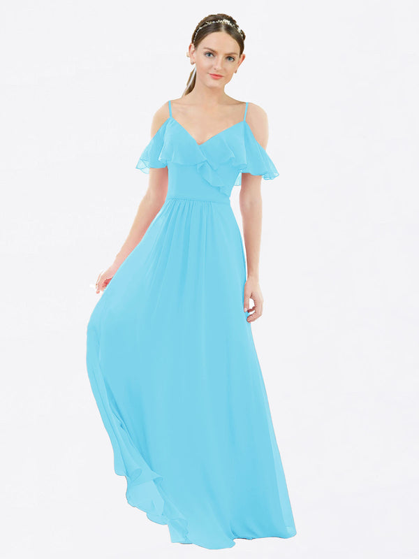 Mila Queen Aubrielle Bridesmaid Dress Sky Blue - A-Line V-Neck Bridesmaid Gown Aubrielle in Sky Blue