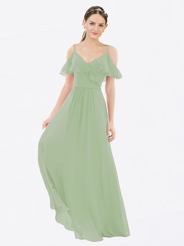 Mila Queen Aubrielle Bridesmaid Dress Smoke Green - A-Line V-Neck Bridesmaid Gown Aubrielle in Smoke Green