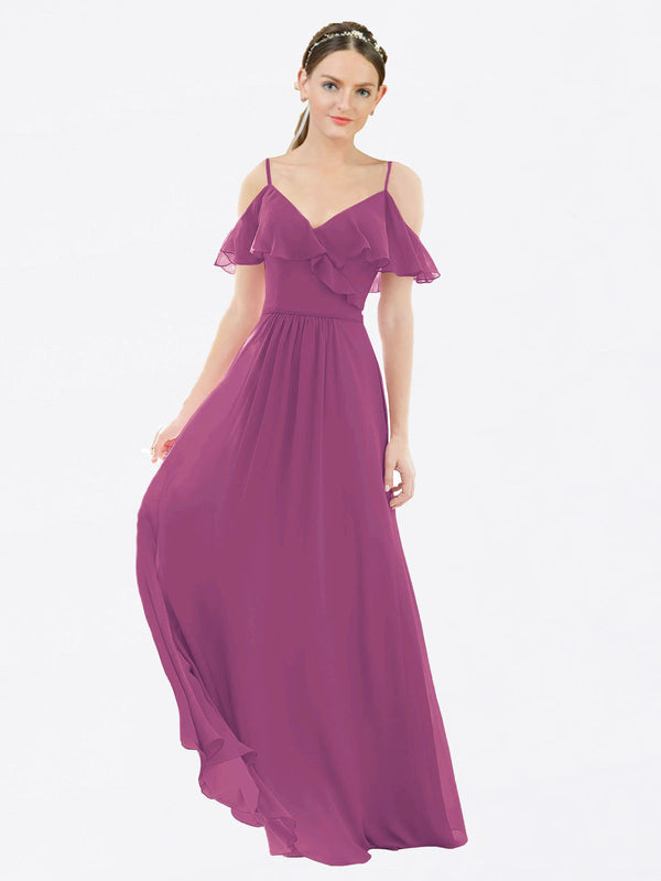Mila Queen Aubrielle Bridesmaid Dress Wild Berry - A-Line V-Neck Bridesmaid Gown Aubrielle in Wild Berry