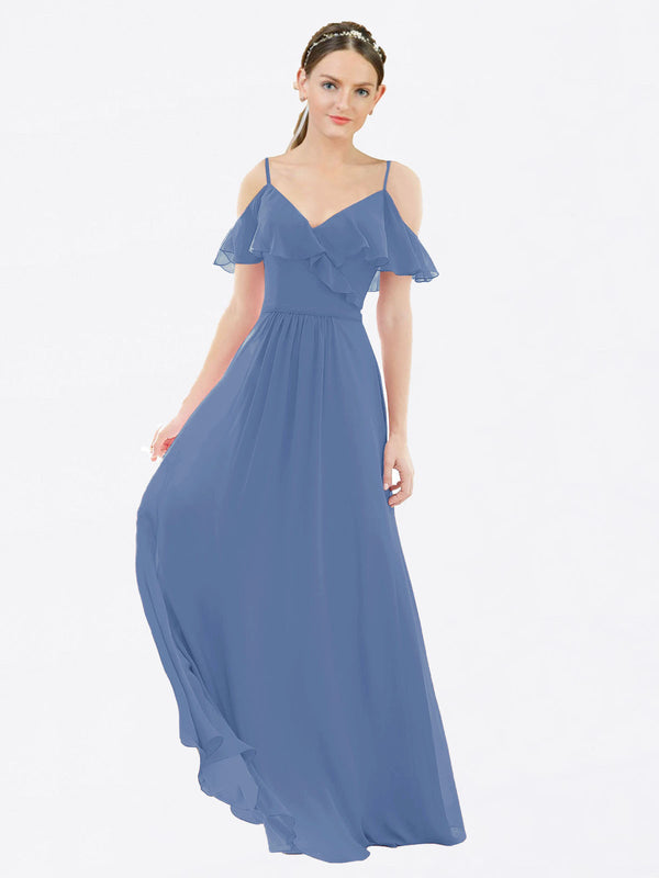 Mila Queen Aubrielle Bridesmaid Dress Windsor Blue - A-Line V-Neck Bridesmaid Gown Aubrielle in Windsor Blue