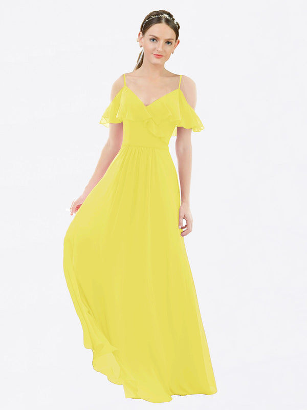 Mila Queen Aubrielle Bridesmaid Dress Yellow - A-Line V-Neck Bridesmaid Gown Aubrielle in Yellow