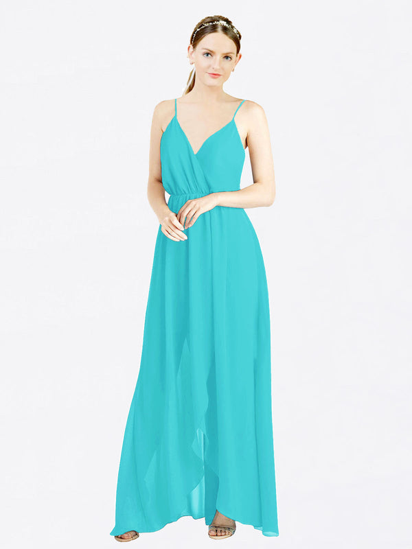Aqua A-Line V-Neck Spaghetti Straps Sleeveless Long Chiffon Bridesmaid Dress Melania