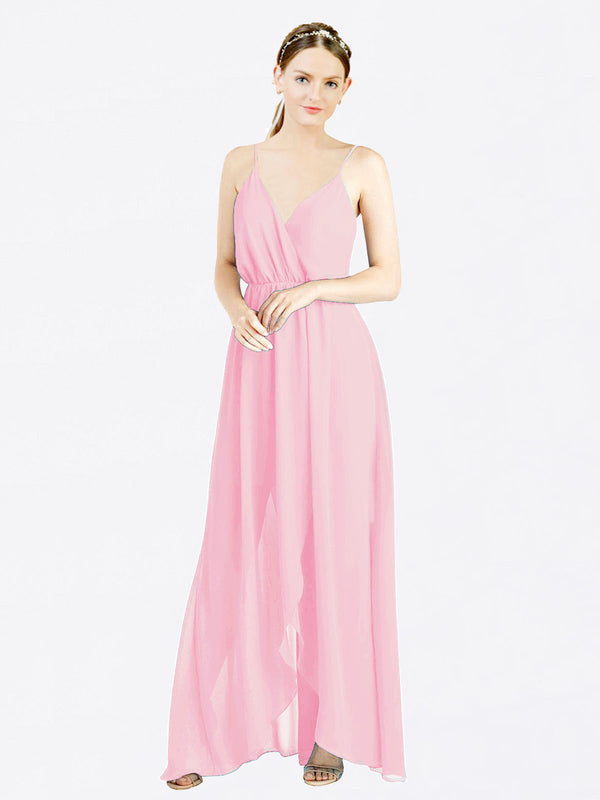 Barely Pink A-Line V-Neck Spaghetti Straps Sleeveless Long Chiffon Bridesmaid Dress Melania