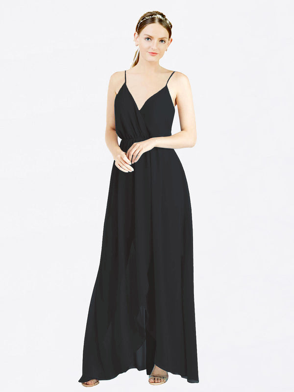 Black A-Line V-Neck Spaghetti Straps Sleeveless Long Chiffon Bridesmaid Dress Melania