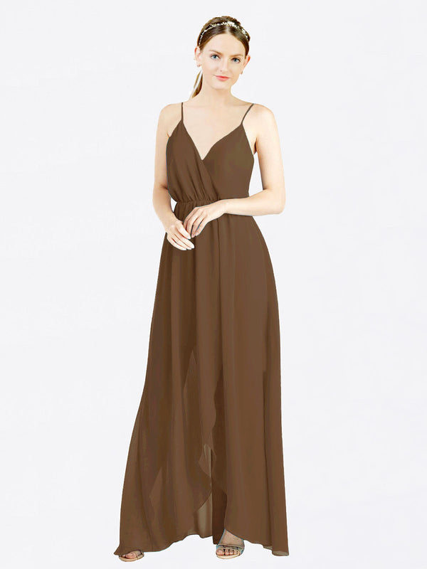 Brown A-Line V-Neck Spaghetti Straps Sleeveless Long Chiffon Bridesmaid Dress Melania