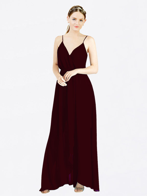 Burgundy Gold A-Line V-Neck Spaghetti Straps Sleeveless Long Chiffon Bridesmaid Dress Melania