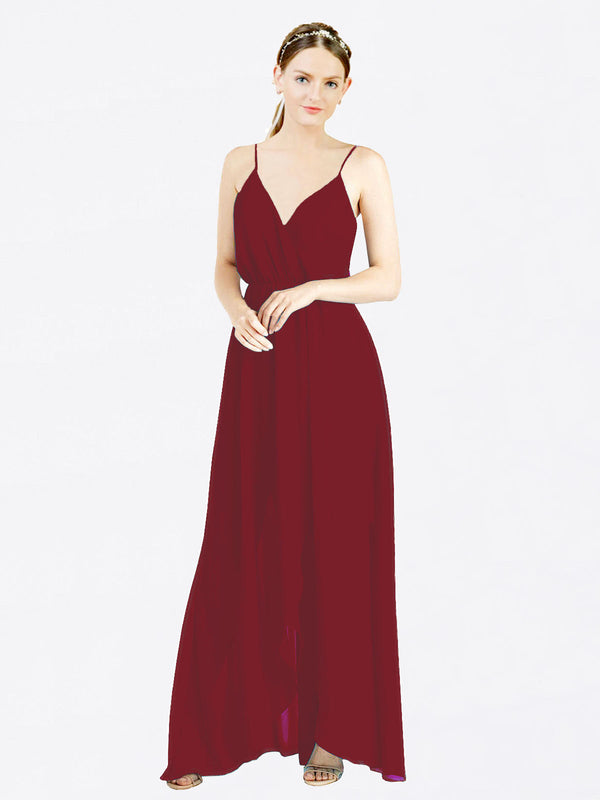 Burgundy A-Line V-Neck Spaghetti Straps Sleeveless Long Chiffon Bridesmaid Dress Melania
