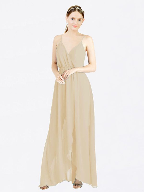 Champagne A-Line V-Neck Spaghetti Straps Sleeveless Long Chiffon Bridesmaid Dress Melania