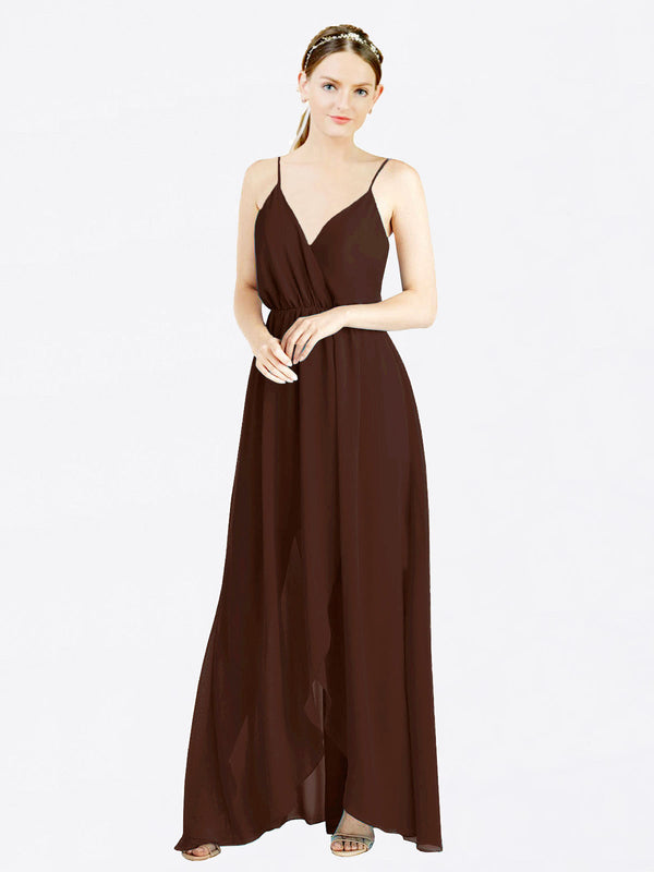 Chocolate A-Line V-Neck Spaghetti Straps Sleeveless Long Chiffon Bridesmaid Dress Melania