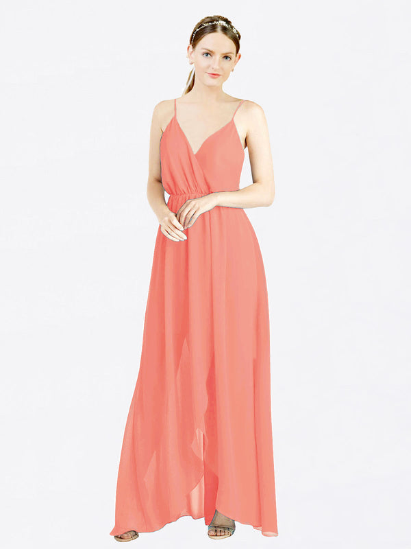 Coral A-Line V-Neck Spaghetti Straps Sleeveless Long Chiffon Bridesmaid Dress Melania