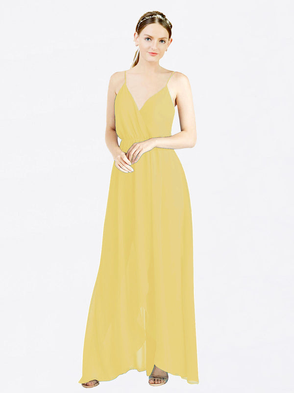 Mila Queen Melania Bridesmaid Dress Daffodil - A-Line V-Neck Spaghetti Straps Long Bridesmaid Gown Melania in Daffodil