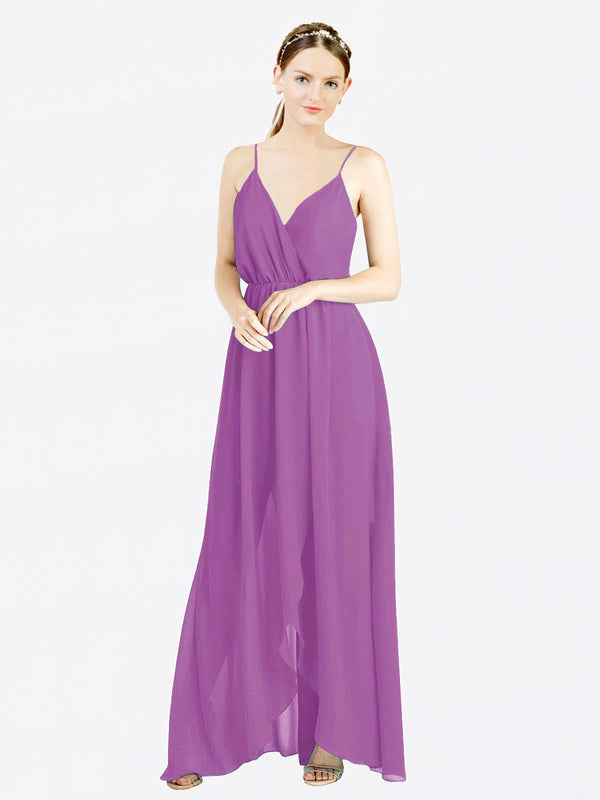 Mila Queen Melania Bridesmaid Dress Dahlia - A-Line V-Neck Spaghetti Straps Long Bridesmaid Gown Melania in Dahlia