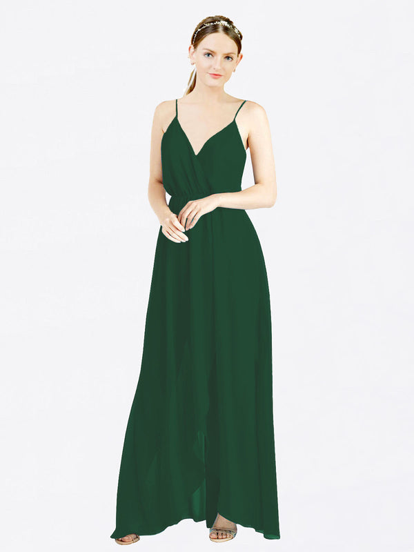 Dark Green A-Line V-Neck Spaghetti Straps Sleeveless Long Chiffon Bridesmaid Dress Melania