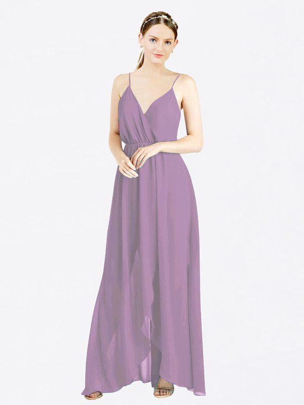 Dark Lavender A-Line V-Neck Spaghetti Straps Sleeveless Long Chiffon Bridesmaid Dress Melania