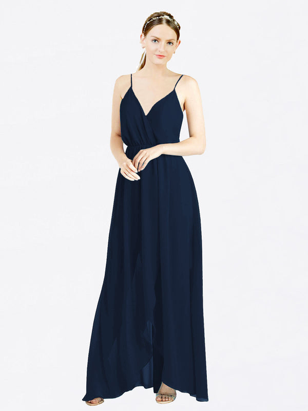Dark Navy A-Line V-Neck Spaghetti Straps Sleeveless Long Chiffon Bridesmaid Dress Melania