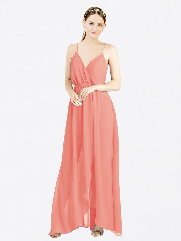 Mila Queen Melania Bridesmaid Dress Desert Rose - A-Line V-Neck Spaghetti Straps Long Bridesmaid Gown Melania in Desert Rose