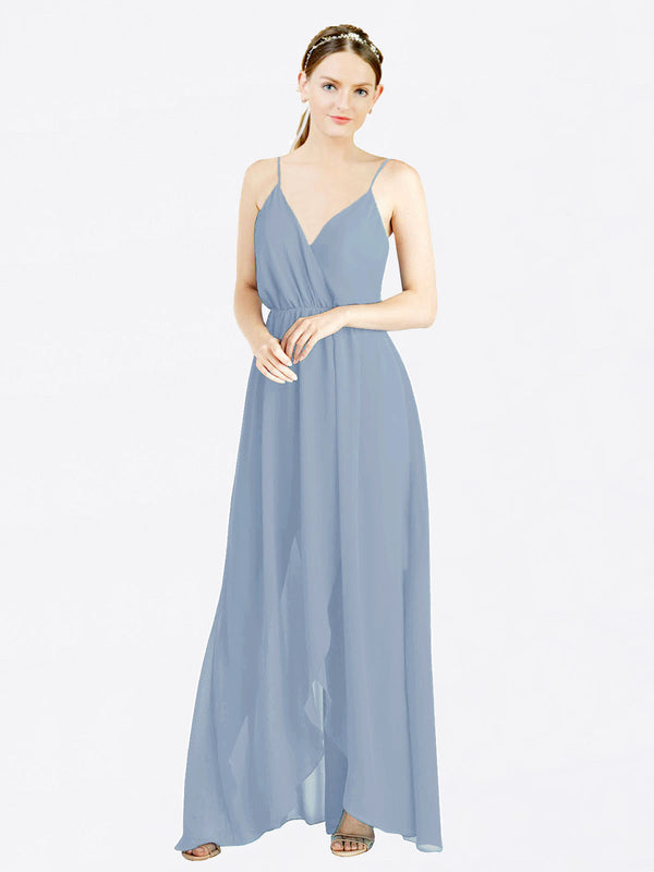 Dusty Blue A-Line V-Neck Spaghetti Straps Sleeveless Long Chiffon Bridesmaid Dress Melania