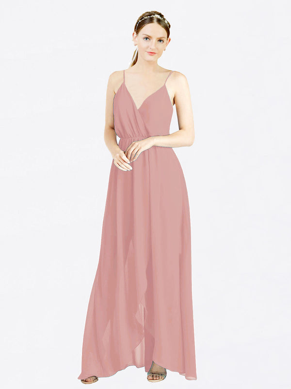 Dusty Pink A-Line V-Neck Spaghetti Straps Sleeveless Long Chiffon Bridesmaid Dress Melania