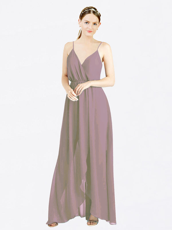 Dusty Rose A-Line V-Neck Spaghetti Straps Sleeveless Long Chiffon Bridesmaid Dress Melania