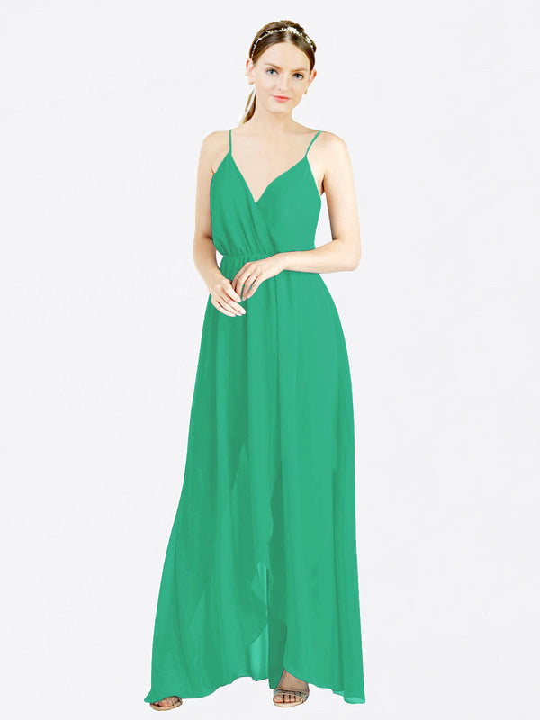 Emerald Green A-Line V-Neck Spaghetti Straps Sleeveless Long Chiffon Bridesmaid Dress Melania