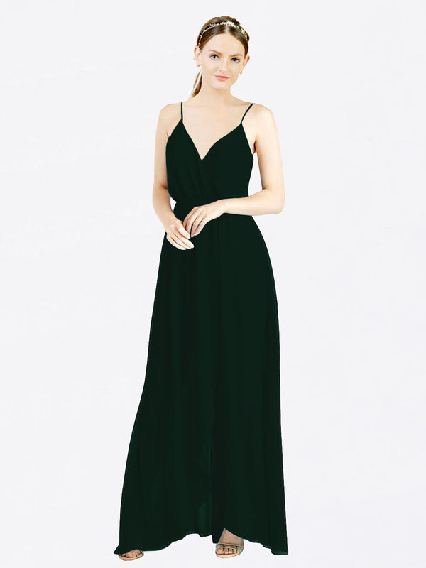 Ever Green A-Line V-Neck Spaghetti Straps Sleeveless Long Chiffon Bridesmaid Dress Melania