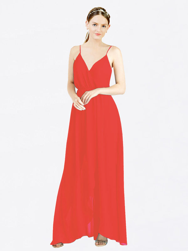 Firecracker A-Line V-Neck Spaghetti Straps Sleeveless Long Chiffon Bridesmaid Dress Melania