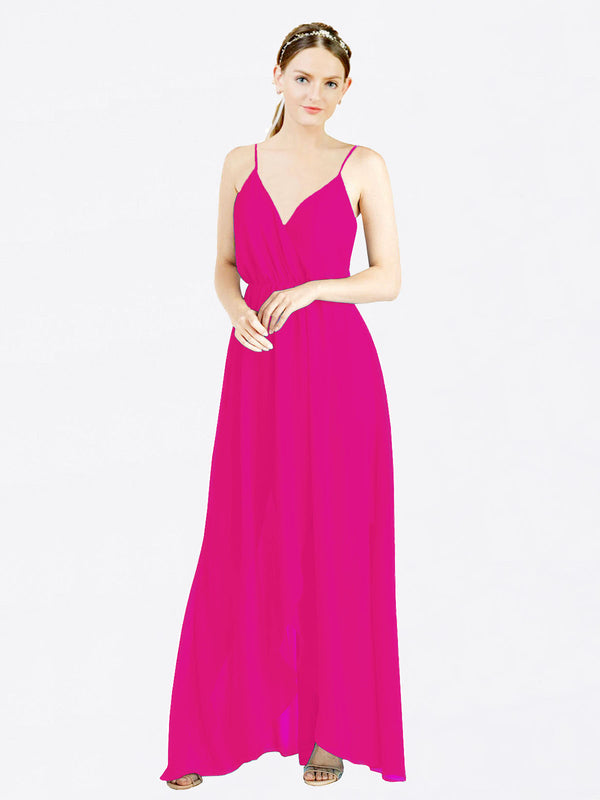 Mila Queen Melania Bridesmaid Dress Fuchsia - A-Line V-Neck Spaghetti Straps Long Bridesmaid Gown Melania in Fuchsia