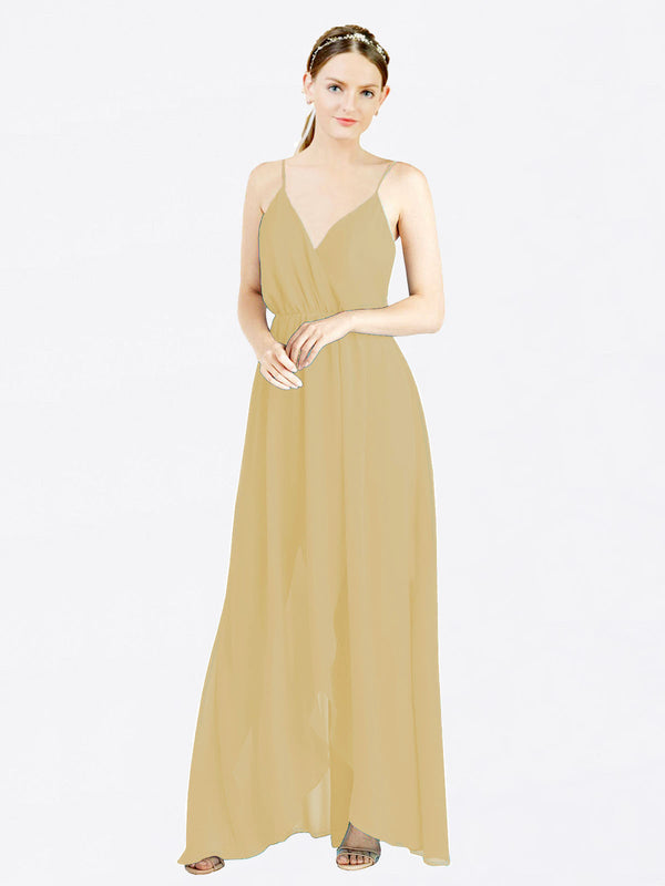 Gold A-Line V-Neck Spaghetti Straps Sleeveless Long Chiffon Bridesmaid Dress Melania