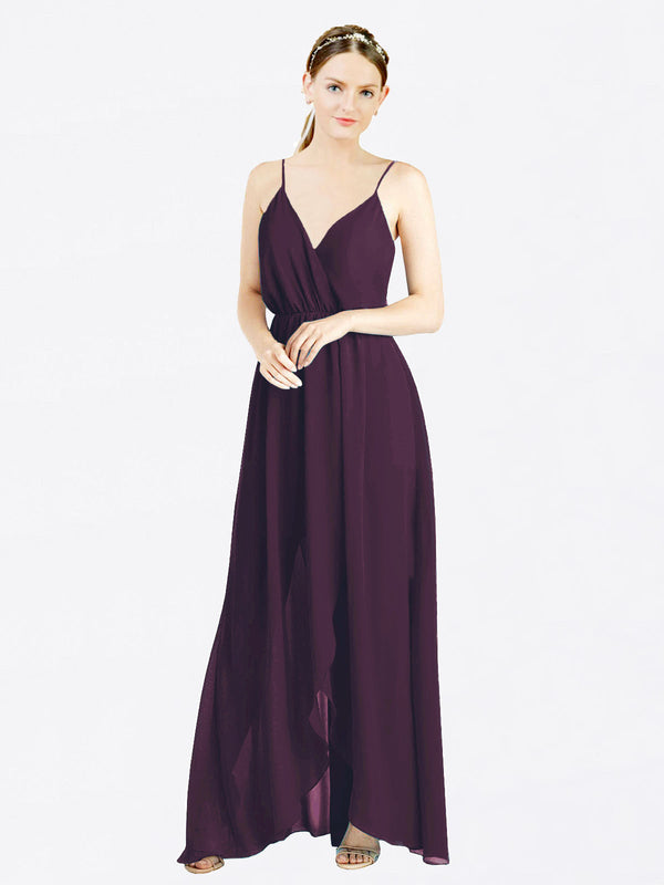 Grape A-Line V-Neck Spaghetti Straps Sleeveless Long Chiffon Bridesmaid Dress Melania