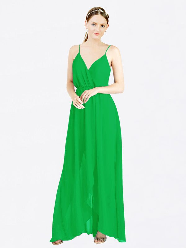 Green A-Line V-Neck Spaghetti Straps Sleeveless Long Chiffon Bridesmaid Dress Melania